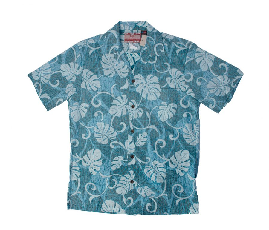 Aloha Shirt Blue Monstera Leaf