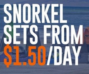 Snorkel sets from $1.50 per day