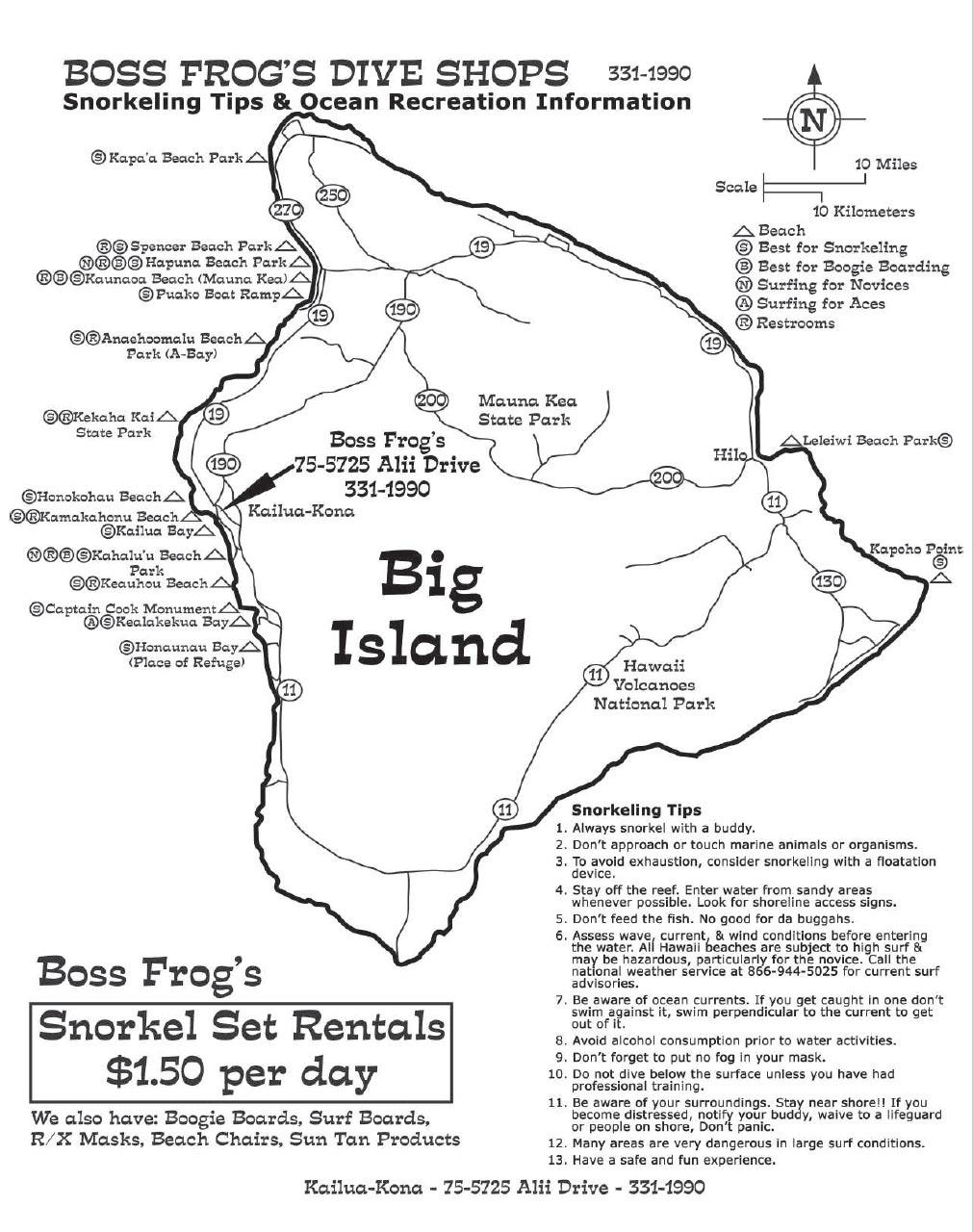 Big Island Snorkel Map