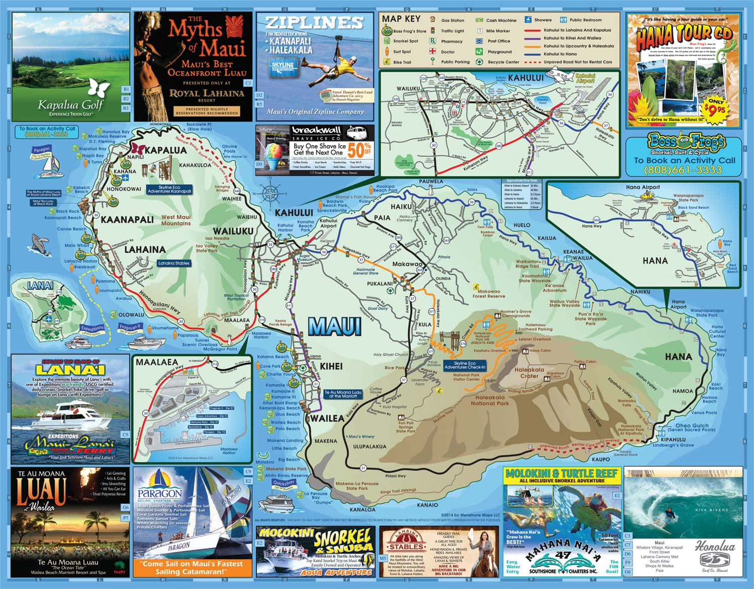 Hawaii Map Maui.Maps Boss Frog S Snorkel Bike Beach Rentals
