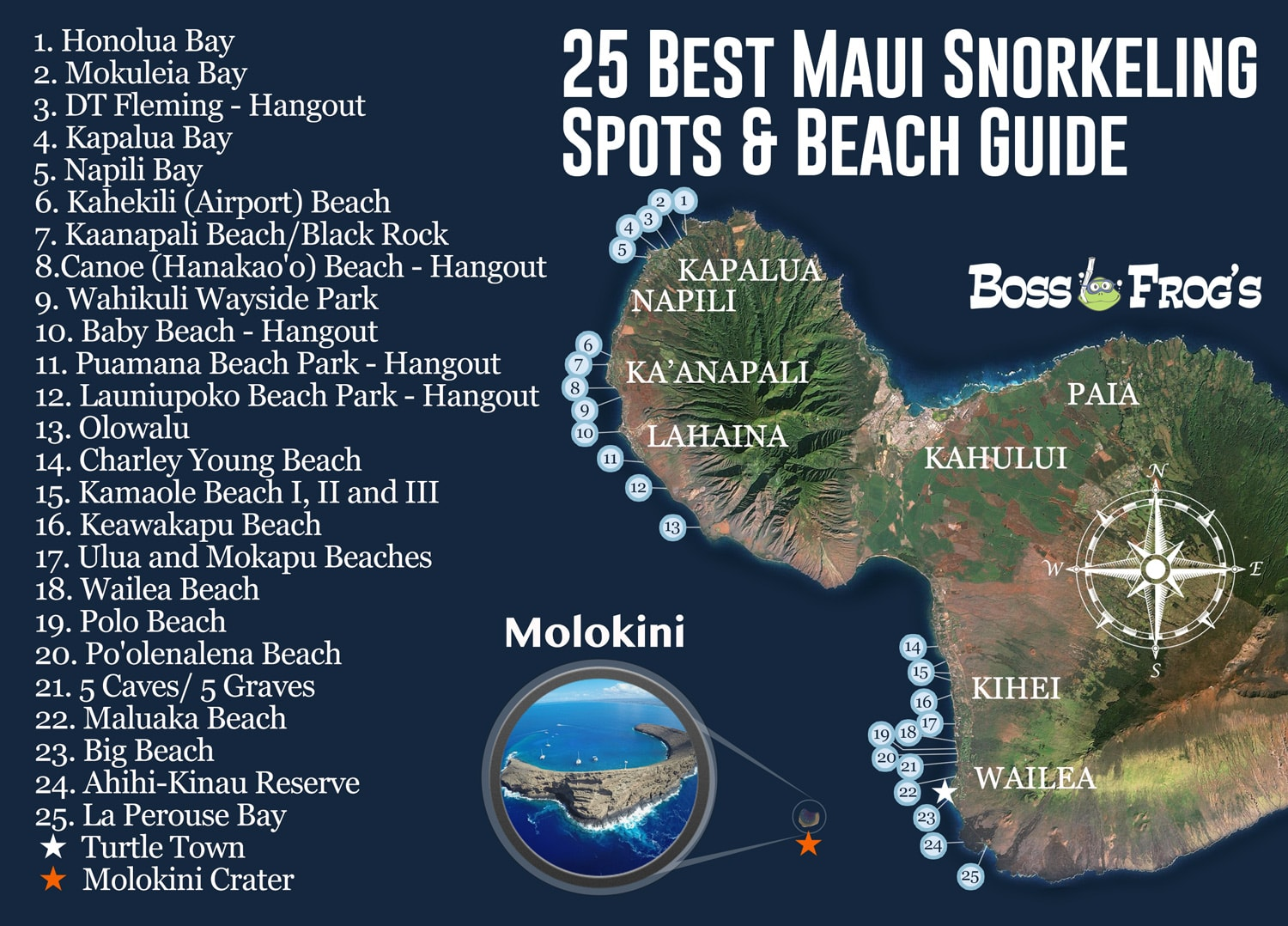 Map Of Maui Beaches 25 Best Maui Snorkeling Spots & Beach Guide | Videos & Photos! Map Of Maui Beaches