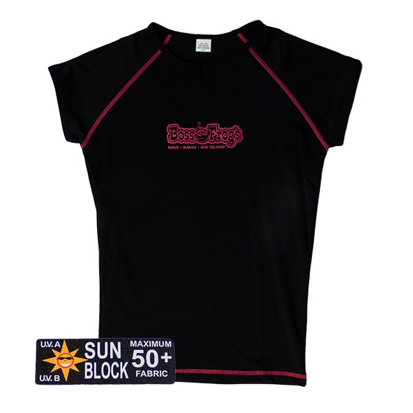 Rash Guard Black With Light Red Seems