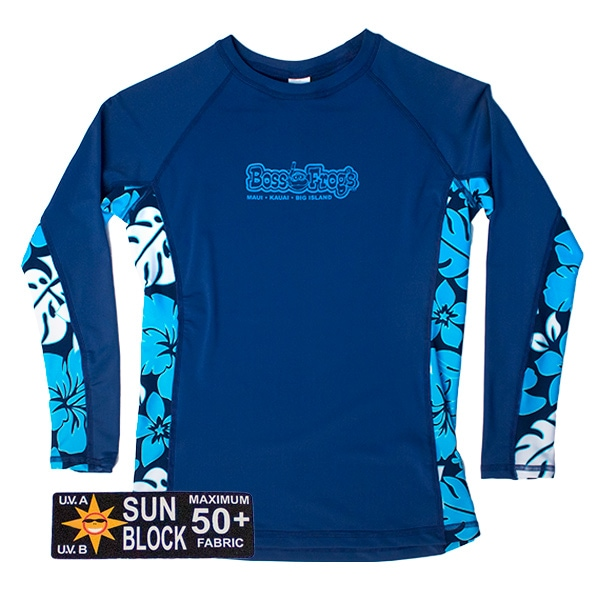 Rash Guard Blue Floral Long Sleeve
