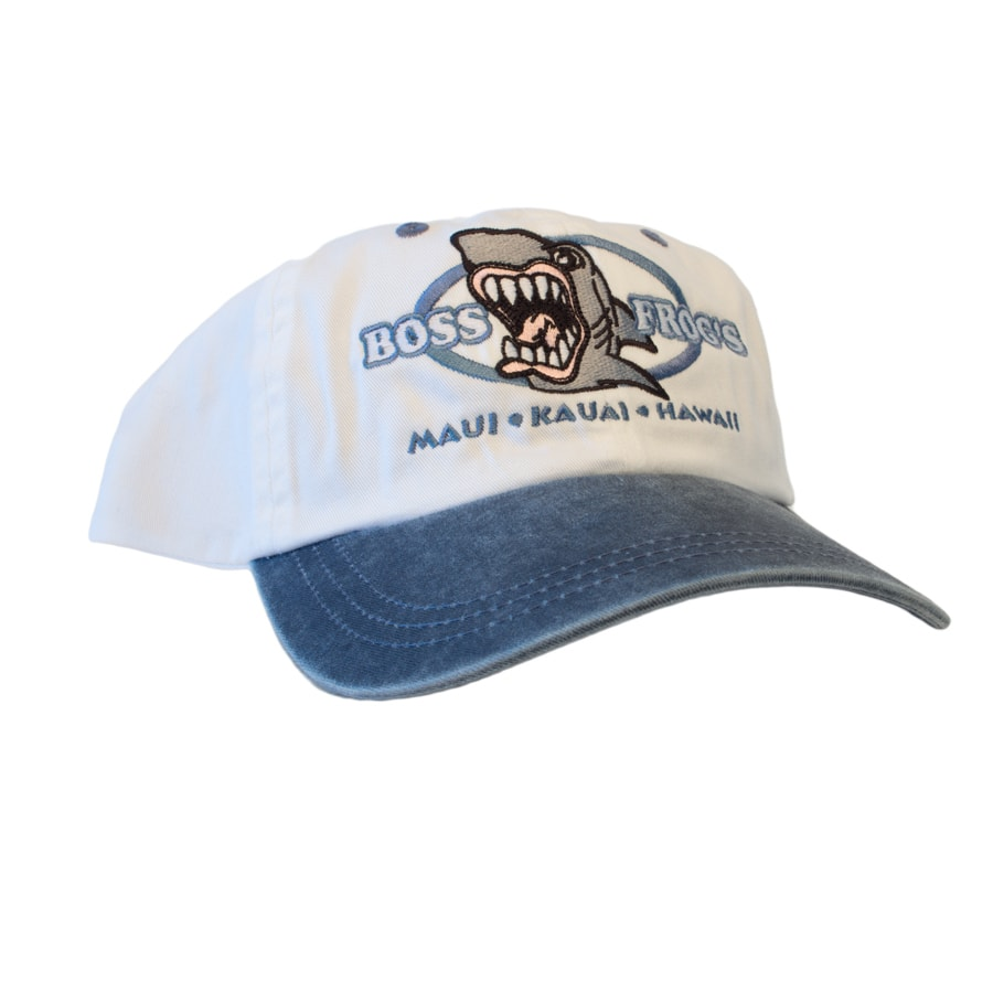 Logo Hat Shark White With Blue Bill
