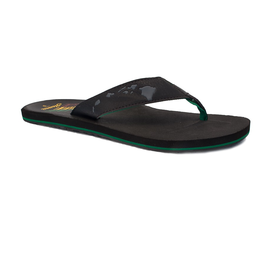 Sanuk Sandle Black Green Hawaiian Islands