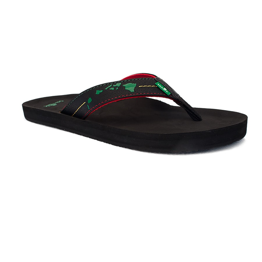 Sanuk Sandle Black Rasta Hawaiian Islands