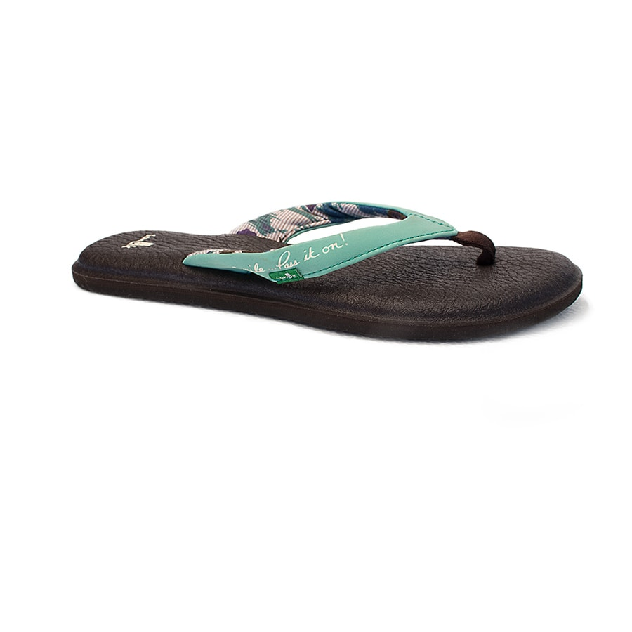 Sanuk Women's Sandle Black Turquoise Hawaiian Islands