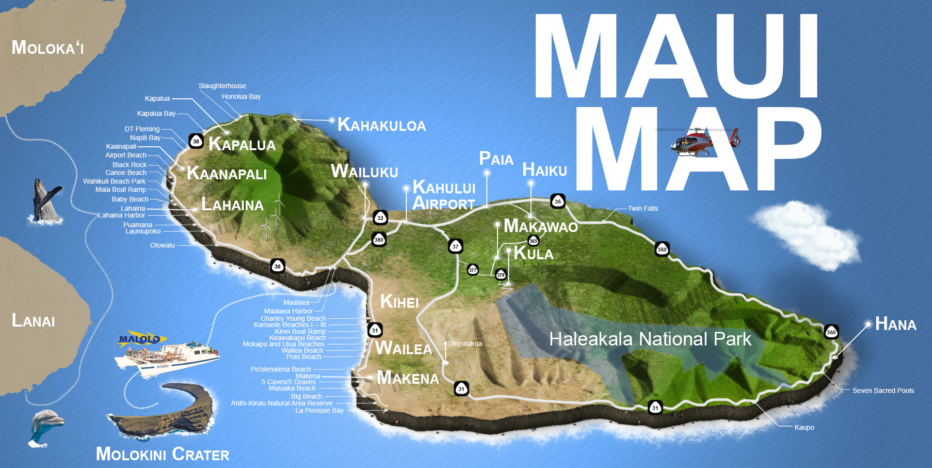 Maui Island Map Driving Beaches Haleakala Hana Kaanapali More