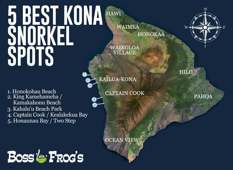 5 Best Kona Snorkel Spots Map