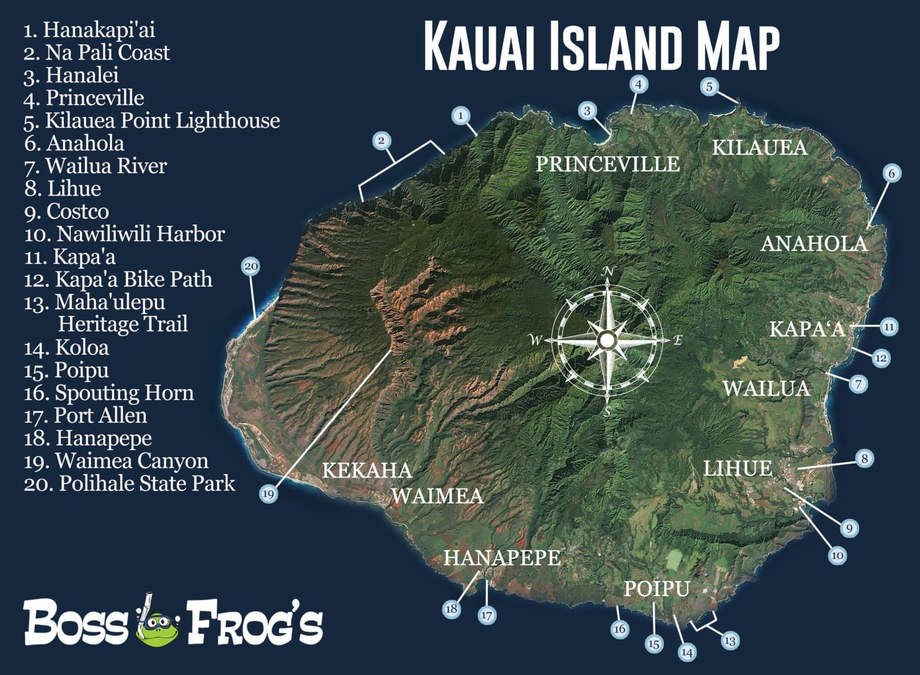 taylor camp kauai map Kauai Island Map Na Pali Coast Hanapepe Poipu More taylor camp kauai map