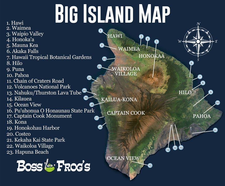 Hawaii Big Island Map Big Island Map Hawaii   Boss Frog's Snorkel, Bike & Beach Rentals