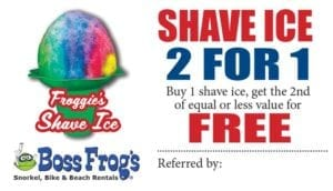 Shave ice at Boss Frog's